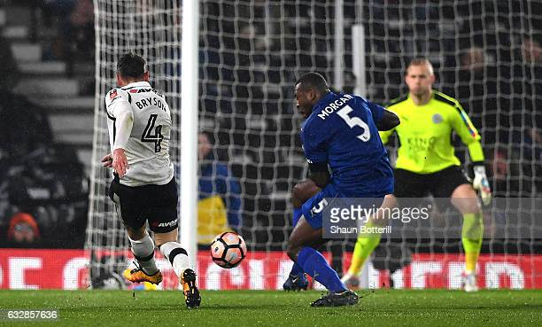 Craig Bryson of Derby County scores his sides second goal during The Emirates FA Cup Fourth Round match between Derby County and Leicester City at...