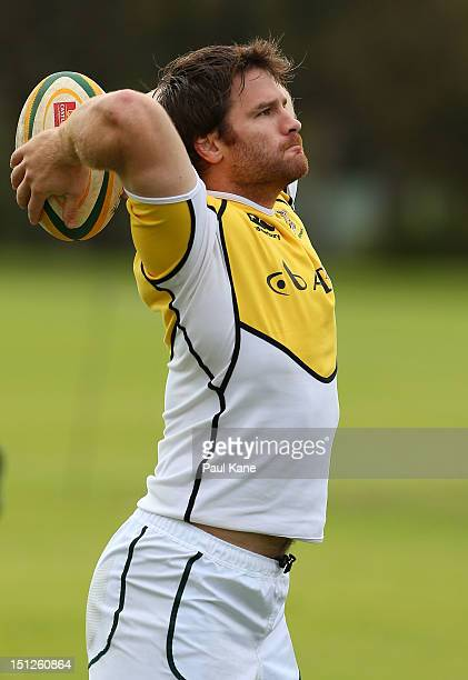 Craig Burden practices lineouts during a South Africa Springboks training session at Hale School on September 5 2012 in Perth Australia