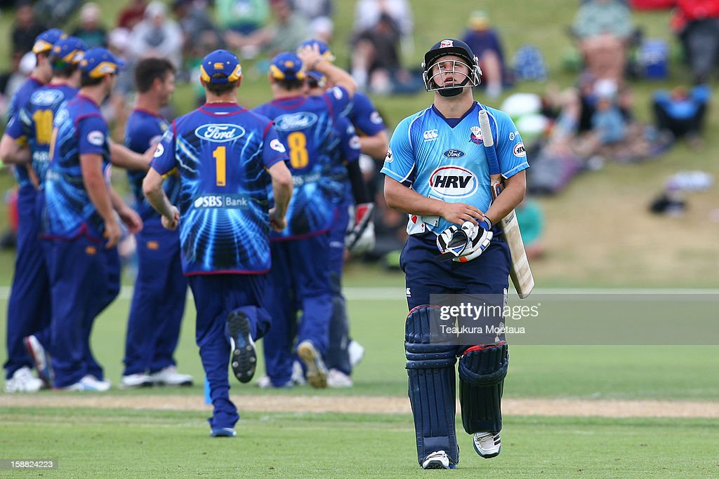 Craig Cachopa of Auckland is dejected during the Twenty20 match between Otago and Auckland at Queenstown Events Centre on December 31, 2012 in Queenstown, New Zealand.