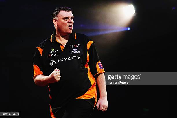 Craig Caldwell celebrates winning the Super League Darts semi final match between Craig Caldwell and Peter Hunt at Sky City on August 1 2015 in...