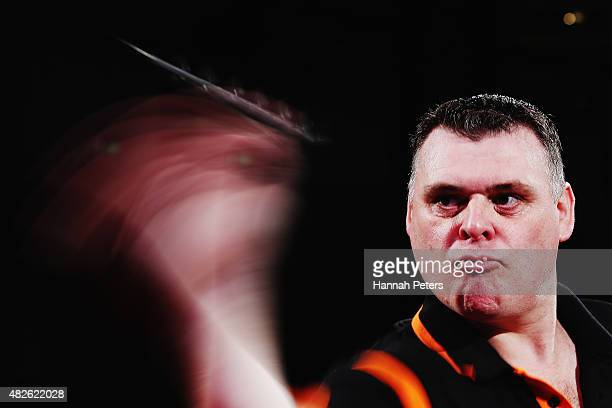 Craig Caldwell competes in the Super League Darts semi final match between Craig Caldwell and Peter Hunt at Sky City on August 1 2015 in Auckland New...