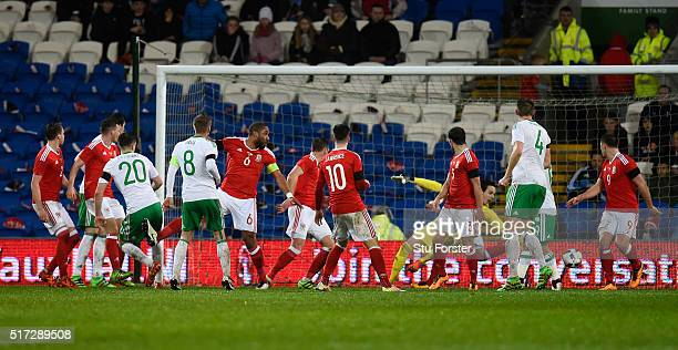 Craig Cathcart of Northern Ireland scores the opening goal during the international friendly match between Wales and Northern Ireland at the Cardiff...