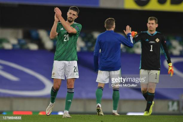 Craig Cathcart of Northern Ireland shows appreciation to the fans after the UEFA Nations League group stage match between Northern Ireland and...