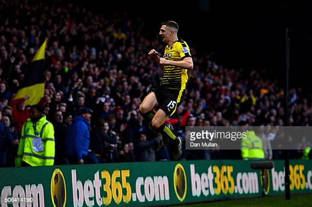 Craig Cathcart of Watford celebrates scoring his team's second goal during the Barclays Premier League match between Watford and Newcastle United at...