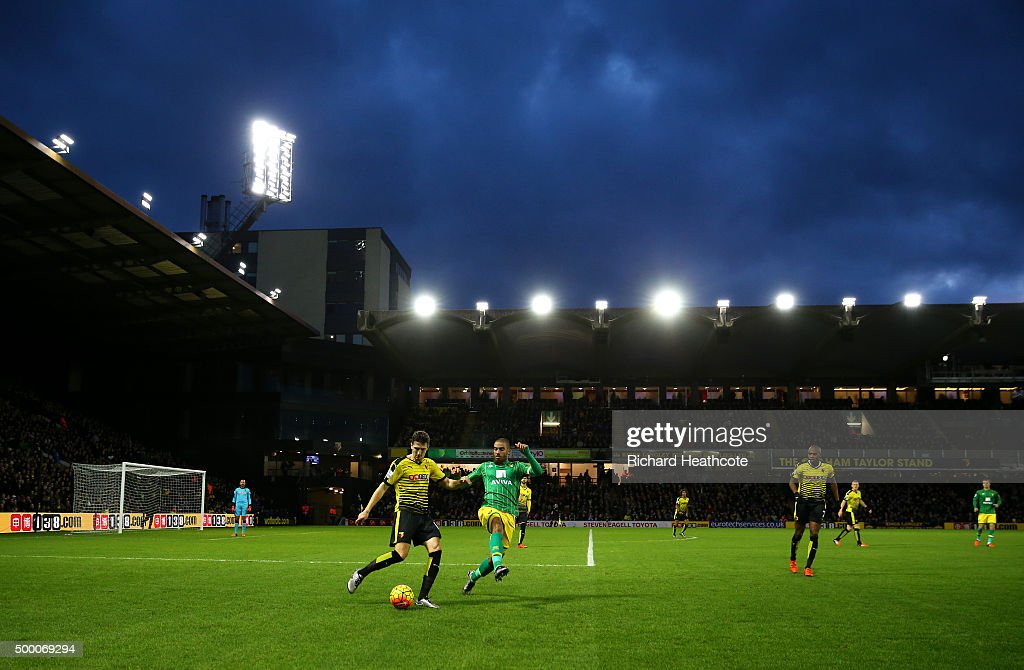 Craig Cathcart of Watford clears the ball during the Barclays Premier League match between Watford and Norwich City at Vicarage Road on December 5, 2015 in Watford, United Kingdom.