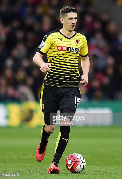 Craig Cathcart of Watford in action during the Barclays Premier League match between Watford and Stoke City at Vicarage Road on March 19 2016 in...