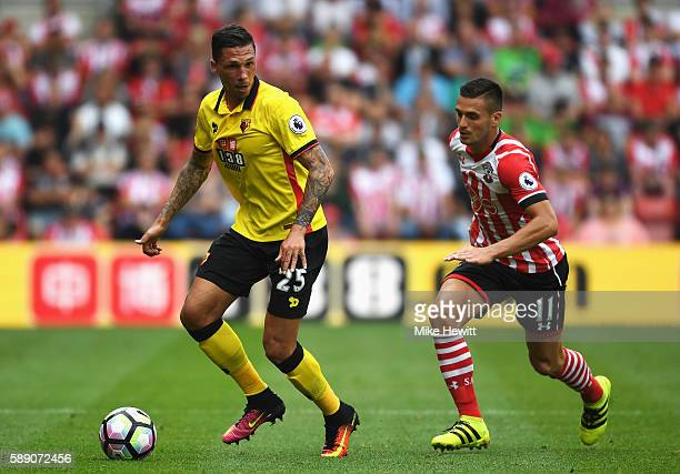 Craig Cathcart of Watford in action during the Premier League match between Southampton and Watford at St Mary's Stadium on August 13 2016 in...
