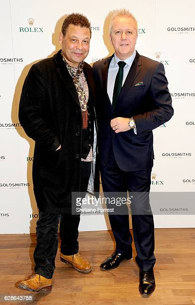 Craig Charles and Goldsmiths executive brand director Craig Bolton attend the official opening of the Goldsmiths Liverpool Rolex lounge on December 8...