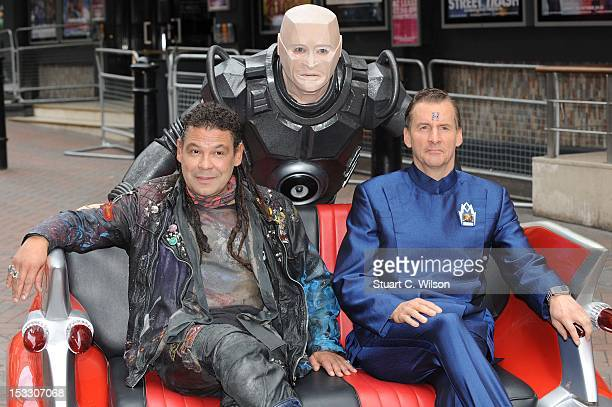 Craig Charles as Dave Lister Robert Llewellyn as Kryten and Chris Barrie as Arnold Rimmer attend a photocall for the return of Red Dwarf with a new...