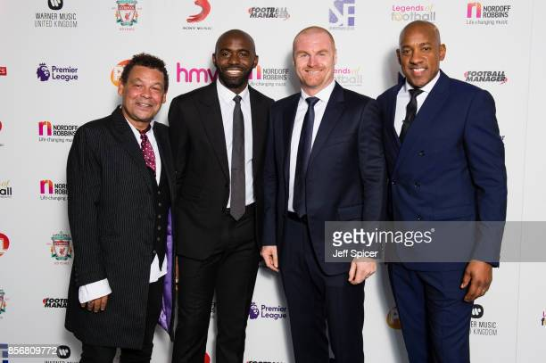 Craig Charles Fabrice Muamba Sean Dyche and Dion Dublin attend the Legends of Football fundraiser at The Grosvenor House Hotel on October 2 2017 in...