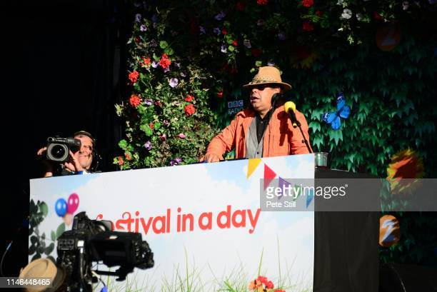 Craig Charles keeps festival goers entertained with music inbetween the performances on stage at the Radio 2 'Festival In A Day' at Hyde Park...
