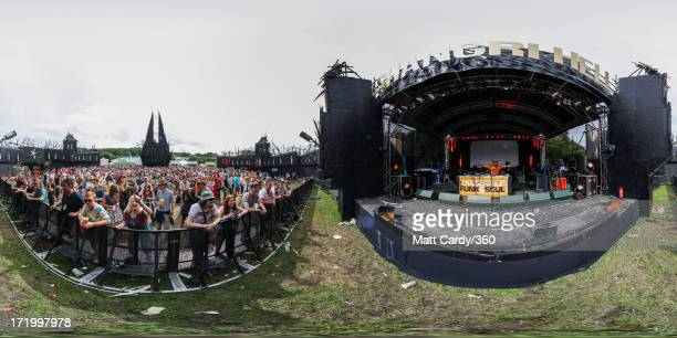 Craig Charles performs at the ShangriLa area at the Glastonbury Festival of Contemporary Performing Arts at Worthy Farm Pilton on June 28 2013 near...