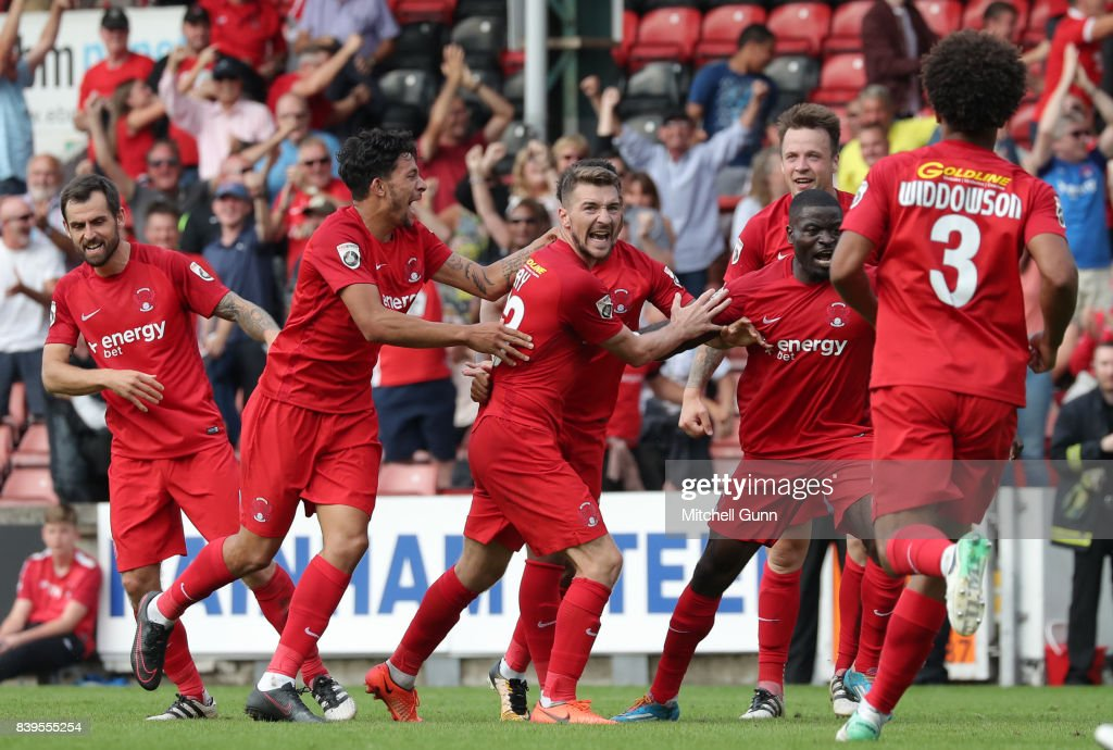 Craig Clay of Leyton Orient celebrates scoring a goal during the National League match between Leyton Orient and Eastleigh at The Matchroom Stadium on August 26, 2017 in London, United Kingdom.