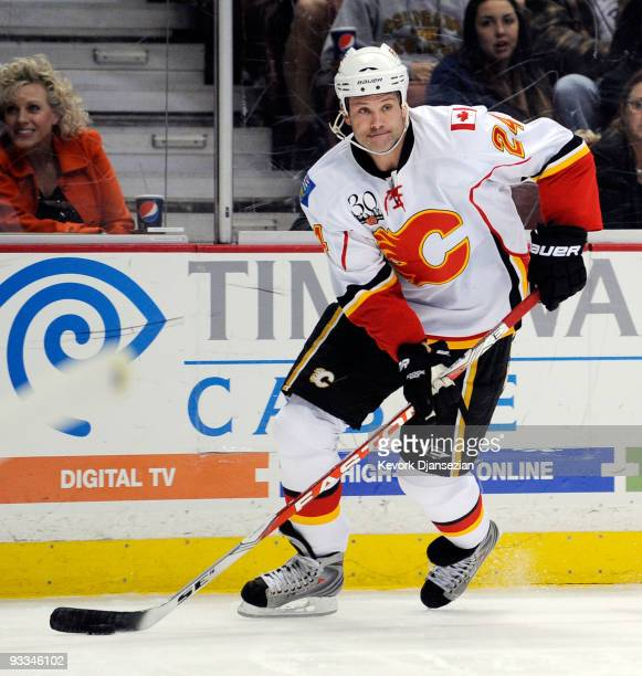 Craig Conroy of the Calgary Flames in action against Anaheim Ducks during the NHL game at the Honda Center on November 23 2009 in Anaheim California