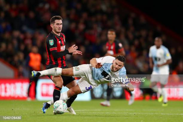 Craig Conway of Blackburn Rovers battles for the ball with Lewis Cook of Bournemouth during the Carabao Cup Third Round match between AFC Bournemouth...