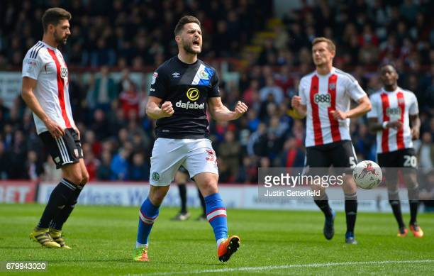 Craig Conway of Blackburn Rovers celebrates scoring his sides third goal during the Sky Bet Championship match between Brentford and Blackburn Rovers...