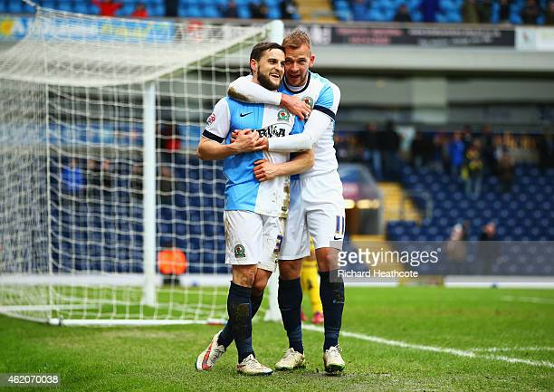 Craig Conway of Blackburn Rovers celebrates with Jordan Rhodes as he scores their third goal during the FA Cup Fourth Round match between Blackburn...