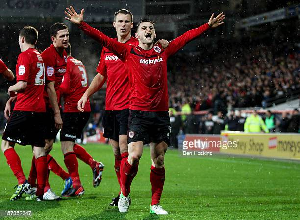 Craig Conway of Cardiff celebrates after scoring the winning goal during the npower Championship match between Cardiff City and Sheffield Wednesday...