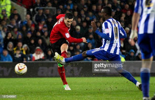 Craig Conway of Cardiff scores the winning goal during the npower Championship match between Cardiff City and Sheffield Wednesday at the Cardiff City...