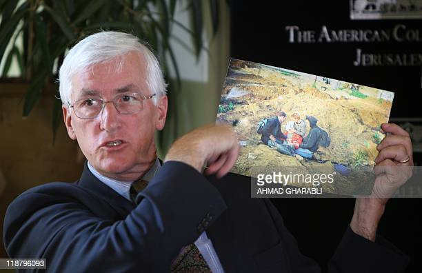 Craig Corrie the father of US peace activist Rachel Corrie who was run over by an Israeli bulldozer during a demonstration in Gaza in 2003 displays a...