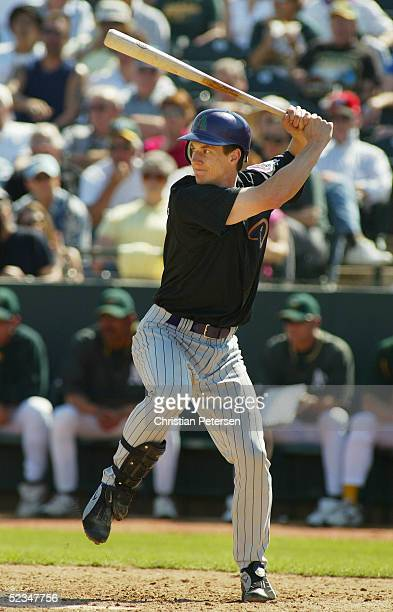 Craig Counsell of the Arizona Diamondbacks bats against the Oakland Athletics during the MLB spring training game on March 7 2005 at Phoenix...