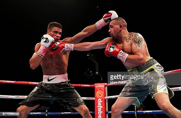 Craig Cunningham Of England and Anthony Ogogo Of England during their WBC International Middleweight title fight at Barclaycard Arena on October 22...