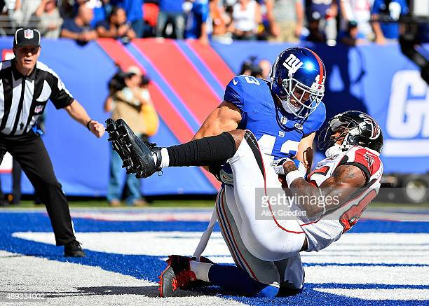 Craig Dahl of the New York Giants fails to stop a fourth quarter touchdown reception by Leonard Hankerson of the Atlanta Falcons at MetLife Stadium...
