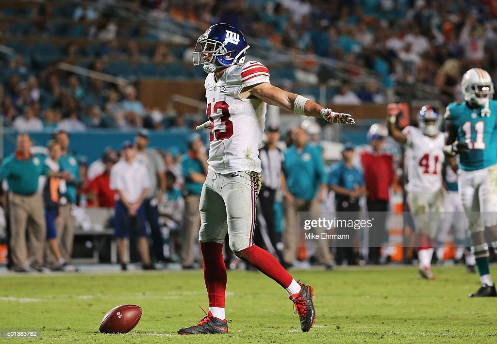Craig Dahl #43 of the New York Giants reacts after a play during the second half of the game against the Miami Dolphins at Sun Life Stadium on December 14, 2015 in Miami Gardens, Florida.