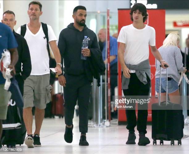 Craig David is seen departing Perth Airport on February 22 2020 in Perth Australia