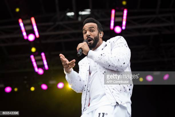 Craig David performs on the Pyramid Stage at the Glastonbury Festival of Music and Performing Arts on Worthy Farm near the village of Pilton in...