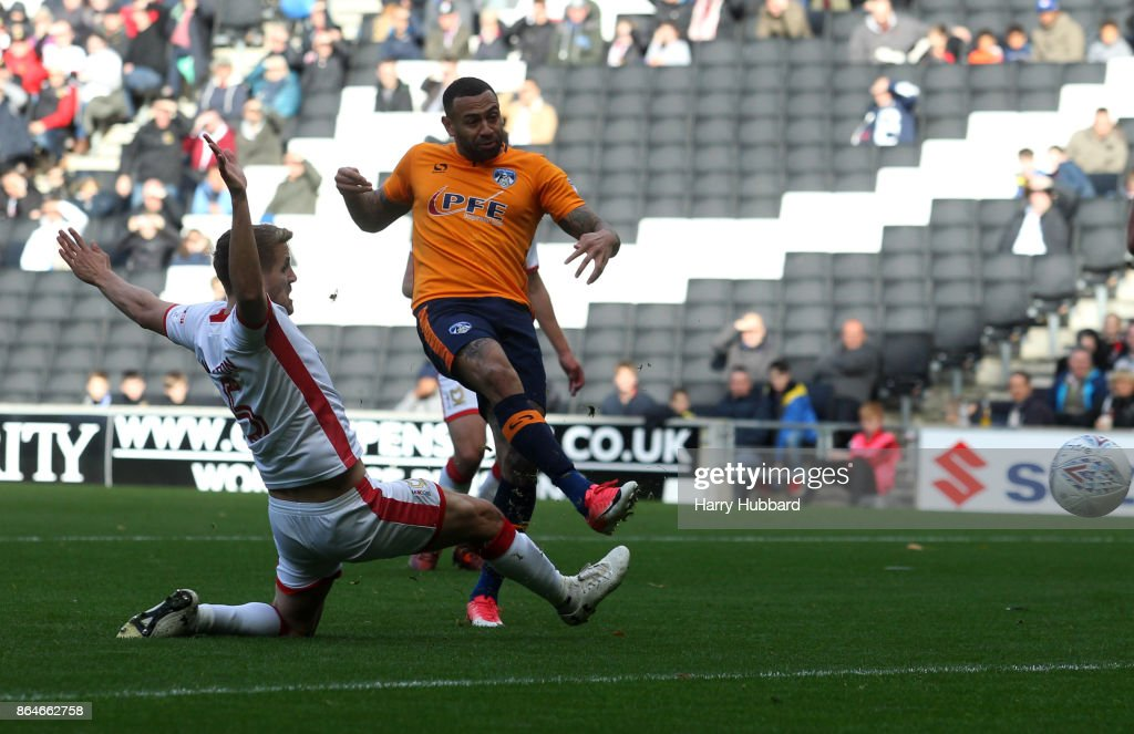 Craig Davies of Oldham Athletic scores his side's first goal during the Sky Bet League One match between Milton Keynes Dons and Oldham Athletic at StadiumMK on October 21, 2017 in Milton Keynes, England.