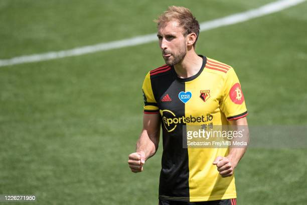 Craig Dawson of Watford FC reacts during the Premier League match between Watford FC and Newcastle United at Vicarage Road on July 11 2020 in Watford...