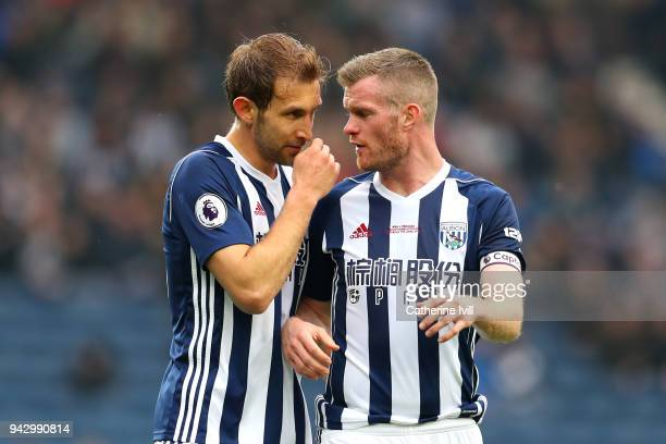 Craig Dawson of West Bromwich Albion and Chris Brunt of West Bromwich Albion talk during the Premier League match between West Bromwich Albion and...