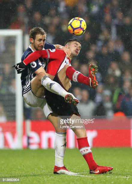 Craig Dawson of West Bromwich Albion and Dusan Tadic of Southampton during the Premier League match between West Bromwich Albion and Southampton at...