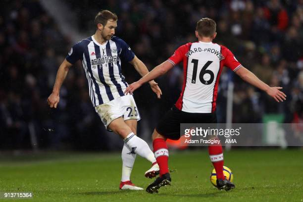 Craig Dawson of West Bromwich Albion and James WardProwse of Southampton Football Club during the Premier League match between West Bromwich Albion...
