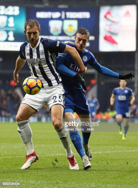 Craig Dawson of West Bromwich Albion and Jamie Vardy of Leicester City during the Premier League match between West Bromwich Albion and Leicester...