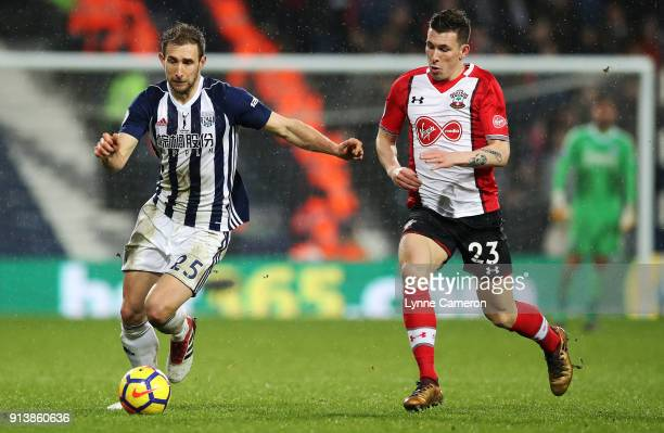 Craig Dawson of West Bromwich Albion and PierreEmile Hojbjerg of Southampton during the Premier League match between West Bromwich Albion and...