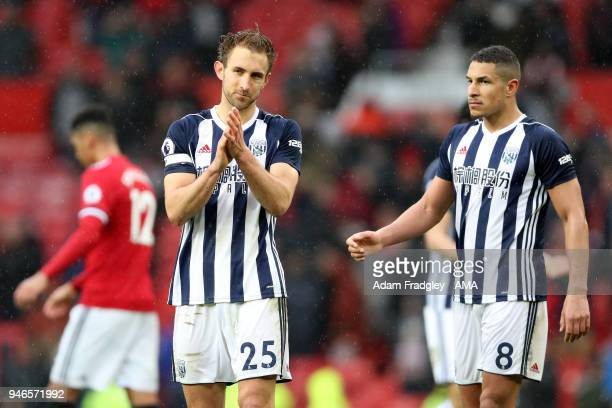 Craig Dawson of West Bromwich Albion applauds the travelling West Bromwich Albion Fans after a 01 win during the Premier League match between...