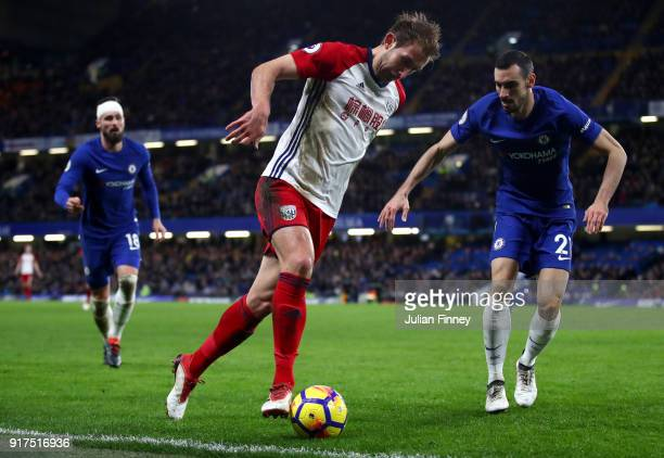 Craig Dawson of West Bromwich Albion attempts to get past Davide Zappacosta of Chelsea during the Premier League match between Chelsea and West...
