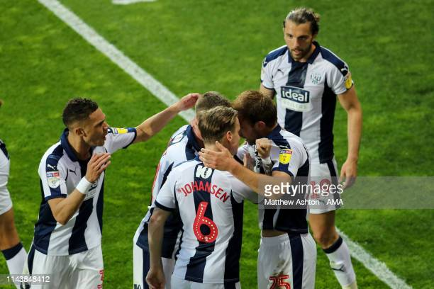Craig Dawson of West Bromwich Albion celebrates after scoring a goal to make it 10 during the Sky Bet Championship Playoff Semi Final Second Leg...