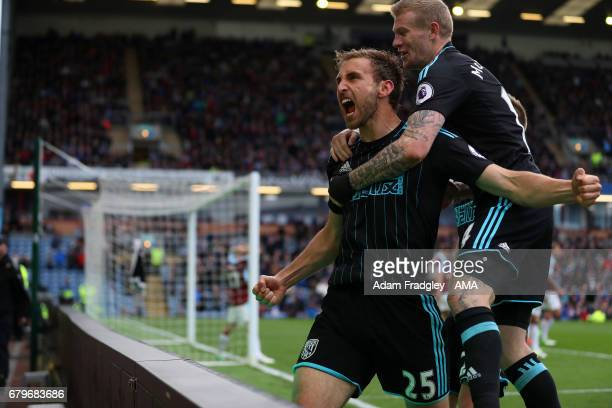 Craig Dawson of West Bromwich Albion celebrates after scoring a goal to make it 12 during the Premier League match between Burnley and West Bromwich...