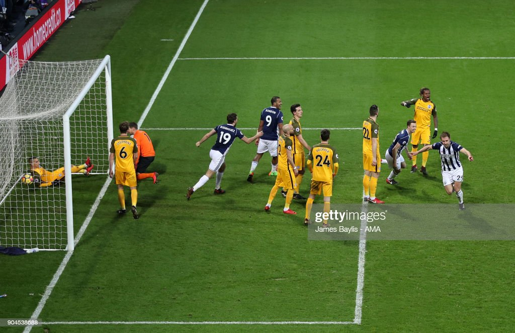Craig Dawson of West Bromwich Albion celebrates after scoring a goal to make it 2-0 during the Premier League match between West Bromwich Albion and Brighton and Hove Albion at The Hawthorns on January 13, 2018 in West Bromwich, England.