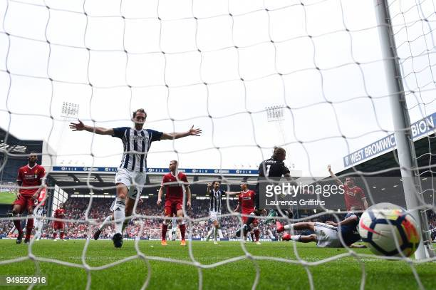 Craig Dawson of West Bromwich Albion celebrates as Jose Salomon Rondon of West Bromwich Albion scores their sides second goal during the Premier...
