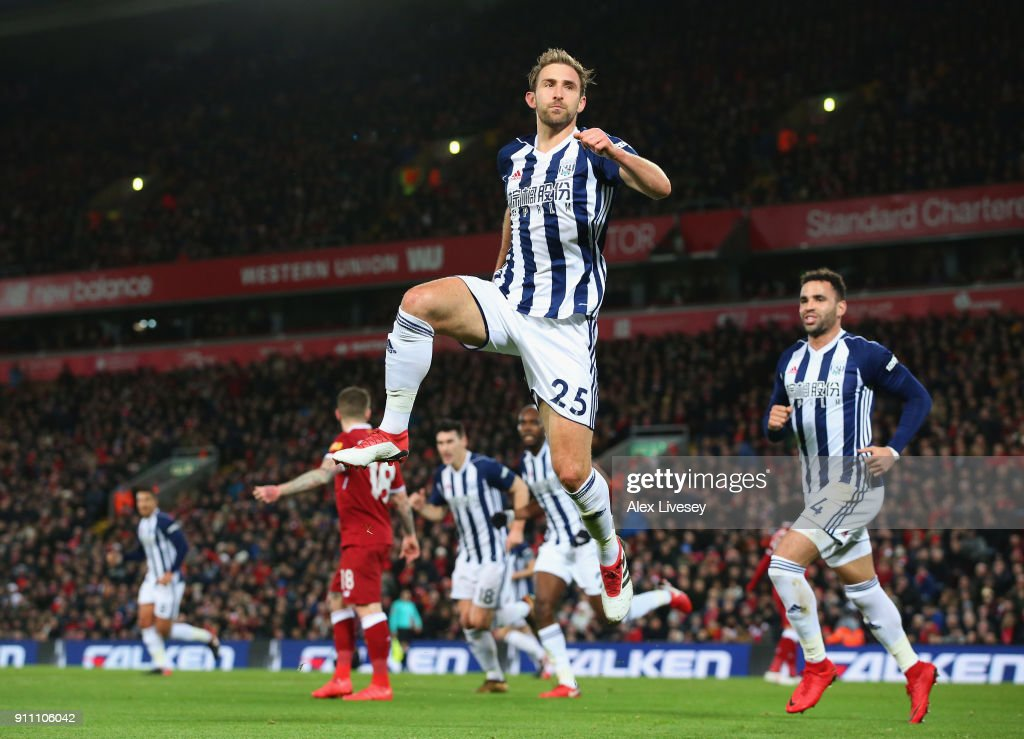 Craig Dawson of West Bromwich Albion celebrates before his goal is dissalowed via the VAR system during The Emirates FA Cup Fourth Round match between Liverpool and West Bromwich Albion at Anfield on January 27, 2018 in Liverpool, England.