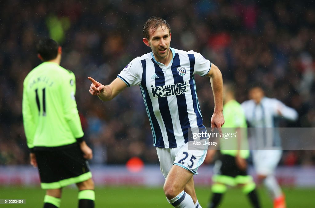 Craig Dawson of West Bromwich Albion celebrates scoring his sides first goal during the Premier League match between West Bromwich Albion and AFC Bournemouth at The Hawthorns on February 25, 2017 in West Bromwich, England.