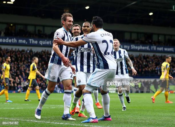 Craig Dawson of West Bromwich Albion celebrates scoring his sides first goal with Nacer Chadli of West Bromwich Albion during the Premier League...