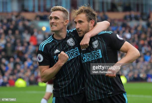 Craig Dawson of West Bromwich Albion celebrates scoring his sides second goal with Darren Fletcher of West Bromwich Albion during the Premier League...