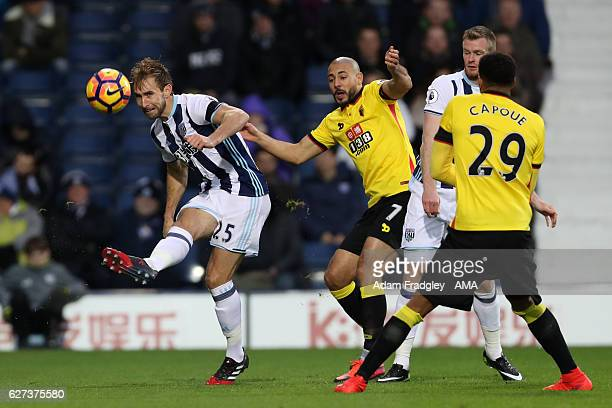 Craig Dawson of West Bromwich Albion competes with Nordin Amrabat of Watford during the Premier League match between West Bromwich Albion and Watford...