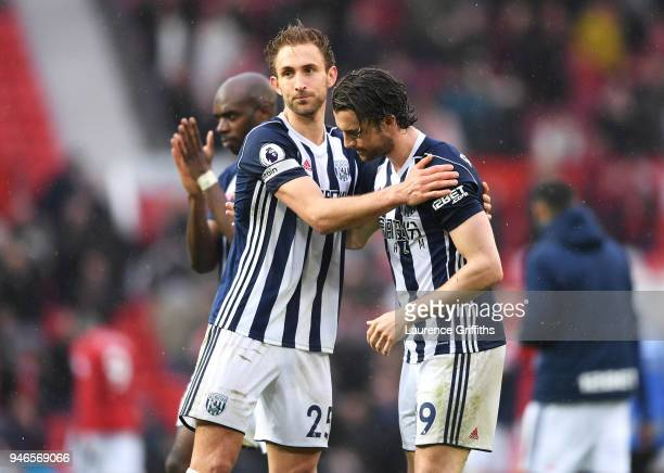 Craig Dawson of West Bromwich Albion congratulates Jay Rodriguez of West Bromwich Albion after the Premier League match between Manchester United and...