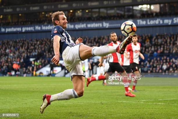 Craig Dawson of West Bromwich Albion controls the ball during the The Emirates FA Cup Fifth Round between West Bromwich Albion v Southampton at The...